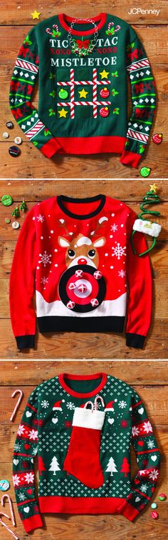 The hottest toppers of the season, ugly Christmas sweaters are also the most comfortable. A way to really show off your personality, a winning holiday sweater ditches the cute for a little creativity. Show up to the sweater party in an ugly Christmas sweater that is warm, fun and all-out tacky. You can always DIY and decorate your sweater with bows, tinsel, buttons, pom poms and lights to really make it special. The best way to get a last-minute Christmas sweater? Find one at JCPenney.