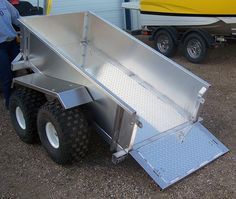 These trailers have state of the art 2500 lb. tandem walking axles and an extreme 18 inches of ground clearance like no others. Walking beams are plasma cut and fitted, machined for bearings allowing long lasting reliability. Also high speed axles and hubs are fitted on 4 bolt rims with 22-11-8 tires. Trailer size is 4ft x 6ft. Front of frame is designed to slide off and around trees etc. if being pulled through the bush. Steel frames are powder coated. Aluminum trailers also come with…