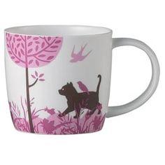woodland cat pink mug
