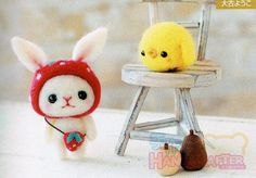 DIY handmade felt wool Strawberry Rabbit & by 1127handcrafter, $17.00