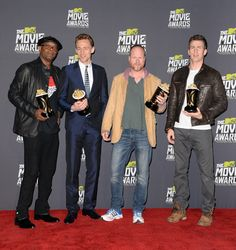 Samuel L. Jackson, Tom Hiddleston, Joss Whedon and Chris Evans, winners of Movie of the Year for 'The Avengers'    MTV Movie Awards press room at Sony Pictures Studios on April 14, 2014