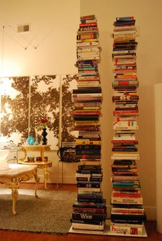 books-  this looks cool, but I always wonder how you could pull one out without it tumbling...