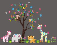 Colorful Nursery Decor - Childrens Wall Murals - Nursery Wall Decal Zoo Animal - Baby Wall Decals - Wall Decals Animals - Nursery Animal Decals - x Childrens Wall Murals, Nursery Wall Murals, Baby Nursery Art, Nursery Decals, Nursery Room, Wall Art, Themed Nursery, Nursery Design, Baby Wall Decals