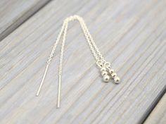 Silver Bead threader earrings