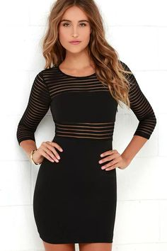 When you need a party perfect look in a hurry, the Perfect Mesh Black Bodycon Dress will give you the head-turning look you desire! Stretchy knit holds a ribbed texture down this bodycon stunner with a rounded neckline and sheer half sleeves. Lining of the bodice and skirt pairs with bands of sheer mesh for a striped peekaboo effect. Hidden side zipper.