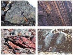 Fig.2 Rock types in the Isua Supracrustal Belt, southern West Greenland. a) Pillow lava structures, b) Banded Iron Formation, c) Metacarbonate, d) Graded bedding (turbidite, picture from (19)).   Early work on the 3.8 Ga old Isua Supracrustal Belt (ISB) in southern West Greenland showed evidence for a marine depositional setting ; banded iron formations (BIFs), metacherts, pillow lava structures, carbonates, and felsic metasediments in which graded bedding is locally preserved (Fig.2).