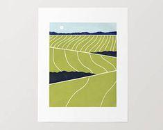 Abstract Farm Linocut Print - Original, Farm, 5x7 Art Print, 8x10 Art, 11x14 Art, Landscape, Rural, Country, Gift, Block Print