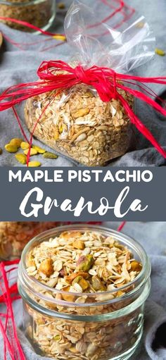 Whip up a batch of this healthy Maple Pistachio Granola in about 30 minutes. Fantastic for snacking or as gifts. 143 calories and 5 Weight Watchers SmartPoints | Recipe healthy | Homemade | Breakfast | Make ahead | Food gifts | Recipe rolled oats | Healthy | Cinnamon #maplegranola #granolarecipe #glutenfree #weightwatchers Best Salad Recipes, Best Dinner Recipes, Top Recipes, Best Dessert Recipes, Real Food Recipes, Holiday Recipes, Egg Recipes For Breakfast, Homemade Breakfast, Delicious Breakfast Recipes