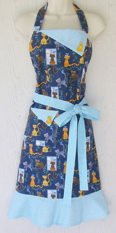 Cute Cat Apron /  Retro Full Apron / Kitties / Polka Dots / Women's Retro Apron, Full Apron, KitschNStyle