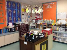 Mission Organization: 21 Ideas on Organizing Your Teacher Area- chandelier above teacher desk