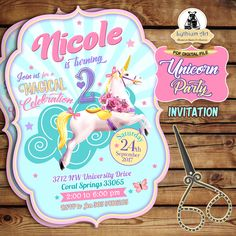 Unicorn Invitation - Unicorn Printable Invitation - Shaped Invitation - Unicorn Party Invitation - Unicorn Birthday Party - Unicorn Party de LythiumArt en Etsy
