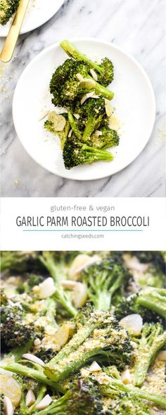 Parmesan Garlic Roasted Broccoli is a simple 4 ingredient healthy recipe that goes with any meal. The garlic flavor is unreal. And this side happens to be paleo, vegan, grain-free, gluten-free, dairy-free, and healthy to boot!   CatchingSeeds.com Healthy Gluten Free Recipes, Paleo Vegan, Vegetarian Recipes, Side Dish Recipes, Vegetable Recipes, Dinner Recipes, Healthy Cooking, Healthy Eating, Cooking Recipes