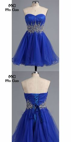 2018 Royer Blue Homecoming dress Short Ball Gown Cocktail party dress with  Crystals Beaded Sweetheart Tulle homecoming dress f9748dac5f7b