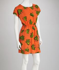 Take a look at this Orange & Green Open-Back Dress by Fashion Now on #zulily today!