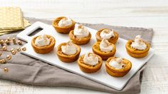 Impossibly Easy Pumpkin Pies - Ready in 50 minutes, these delicious mini pumpkin pies topped with whipped topping are a wonderful dessert – that's made using Original Bisquick® mix. Mini Pumpkin Pies, Easy Pumpkin Pie, Pumpkin Pie Recipes, Mini Pumpkins, Mini Pies, Pumpkin Dessert, Fall Recipes, Holiday Recipes, Pumpkin Pumpkin