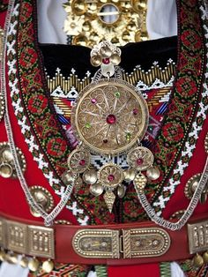 Detail of Norwegian folk costume from Hardanger.