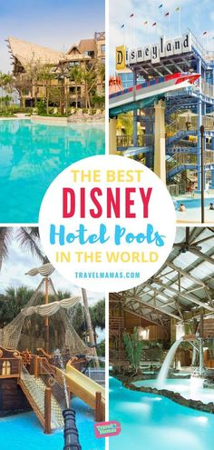 If you love Disney and you love fabulous hotel pools, then this list is for you! This guide highlights the 15 best Disney hotels that feature amazing swimming pools with waterslides, fountains, theming and more. Disney World Florida, Disney World Resorts, Disney Vacations, Disney Trips, Disney Travel, Disney Money, Best Disney Hotels, Disney Resort Hotels, Disneyland Resort