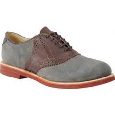 Walk-Over Shoes Men's The MADE IN THE USA Classic Saddle Shoe In Grey Suede And Chocolate Saddle, Shoes