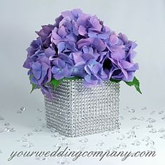 Diamond Mesh (Simulated Rhinestone Ribbon) - Diamond Wrap is a sparkling, bendable ribbon perfect for wrapping around wedding bouquet handles, favor boxes, candles, vases & cakes etc. http://www.yourweddingcompany.com