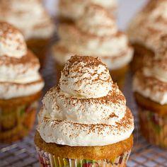 Tiramisu Cupcakes Recipe Desserts with cake flour, baking powder, coarse salt, milk, vanilla beans, unsalted butter, eggs, granulated sugar, coffee, marsala wine, granulated sugar, heavy cream, mascarpone, confectioners sugar, unsweetened cocoa powder
