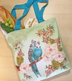 Parakeet shopping bag by FloraLiving on Etsy, $29.00