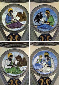 Santa Croce. Florence. 1460s Ceramic Evangelist tondos in the Pazzi Chapel by Luca Della Robbia