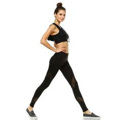 A pair of stretch knit athletic leggings with a sheer mesh insert front and back on each leg and an elasticized waist. Mesh Panel Leggings, Trendy Online Boutiques, Basic Leggings, Teal Fabric, V Lines, Black Mesh, Workout Pants, Boutique Clothing, Fitness Fashion