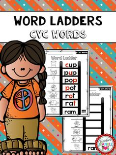 CVC Word Ladders (FREE) - Teacher Jeanell - CVC Word Ladders (FREE) Students will start at the bottom of the word ladder and change one letter at a time to spell the next word. These worksheets are a great way to build students decod - Kindergarten Freebies, Kindergarten Reading, Teaching Reading, Kindergarten Vocabulary, Guided Reading, Phonics Words, Spelling Words, Cvc Words, Reading Stations