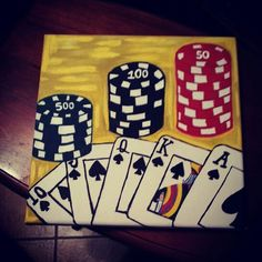 Poker themed canvas painting