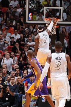 FEBRUARY 10: LeBron James #6 of the Miami Heat dunks the ball
