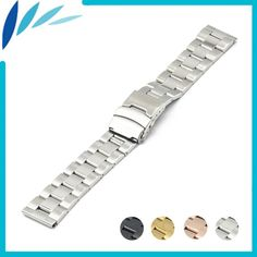 Stainless Steel Watch Band 18mm 20mm 22mm 24mm for Breitling Safety Clasp Strap Loop Belt Bracelet Black Silver + Spring Bar //Price: $US $10.88 & FREE Shipping //     #hashtag4