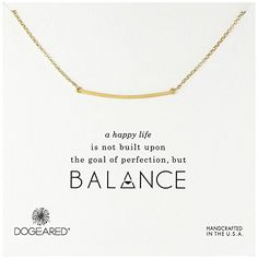 Dogeared Balance Large Curved Bar Gold Dipped Necklace 18 -- Want additional info? Click on the image.