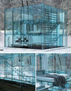 Glass Cube House by Santambrogiomilano via weburbanist