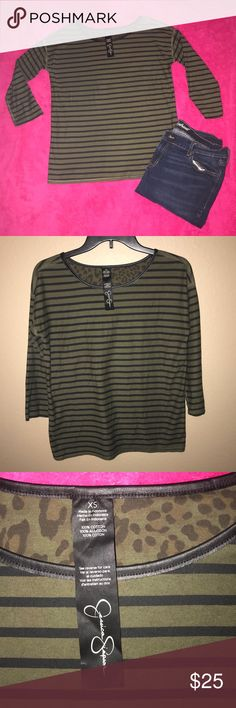 🌸JS Long sleeve 🌸 Olive and black stripe long sleeve  XS  Has leather at the collar  Has cheetah print only all on the inside of the shirt Jessica Simpson Tops Tees - Long Sleeve