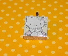 Hello Kitty Scrabble Tile Pendant by GreyGyrl on Etsy, $4.00