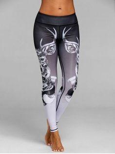 cce5bdf4ba87 Skinny Elk Print Sports Leggings Black Workout Leggings