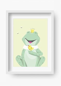 """Bilder - Kinder Poster """"Herr von Frosch"""" (Kinderzimmerbild) - ein Designerstück von fabeltal bei DaWanda"""