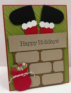 Santa in Chimney Punch Art Stampin Up Christmas Card Kit Cards) in Crafts, Scrapbooking & Paper Crafts, Paper Crafts, Card Making Homemade Christmas Cards, Stampin Up Christmas, Christmas Cards To Make, Noel Christmas, Diy Christmas Gifts, Homemade Cards, Holiday Cards, Christmas Decorations, Christmas Ideas