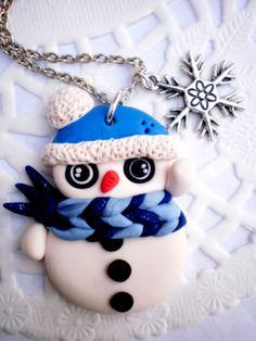 Hóember kékbe öltözve - nyaklánc, Ékszer, óra, Nyaklánc, Meska