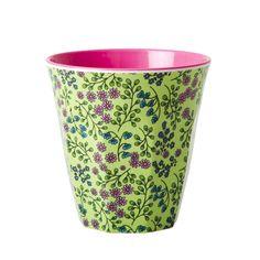 Rice Melamine Cup Two Tone with Flower Print In Green - Nettle Green Tupperware, Flower Prints, Pink Flowers, Planter Pots, Barn, Rice, Ceramics, Tableware, Caravan Interiors
