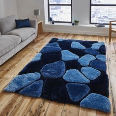 Le House Blue Rugs From Free Uk Delivery Affordable Handmade Shaggy Nh 5858 Are Hand Tufted With Soft Thick Acrylic