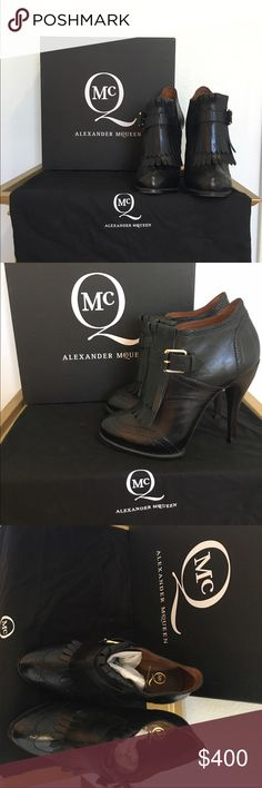 🎉1 HOUR FLASH SALE🎉 ☠ ALEXANDER MCQUEEN BOOTIES☠ Authentic, Gorgeous, perfectly maintained black leather Alexander McQueen booties ☠ size 9 (39).  I would say fits a little small.  I'm more like an 8 and they have a little room- fits like an 8.5.  Comes with box and dust bag.  Stickers still on bottom of shoe- like new.  Impeccably cared for! Alexander McQueen Shoes Ankle Boots & Booties