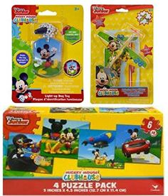 Disney Mickey Mouse Easter Basket Fillers with LightUp Dog Tag Necklace 2 pk Prop Gilders Planes and Puzzle Pack Including 4 Different 6pc Puzzles * Want additional info? Click on the image. #like