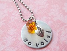 Hand Stamped Tennessee Vols Football Necklace by SimplySweetHome Diy Jewelry, Handmade Jewelry, Jewelry Making, Unique Jewelry, Football Necklace, Tn Vols, Tennessee Girls, Tennessee Football, University Of Tennessee