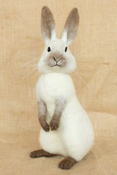Timothy the Rabbit: Needle felted animal sculpture by Megan Nedds of The Woolen Wagon