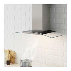 KLARLUFT Väggmonterad köksfläkt, rostfritt stål, glas - IKEA