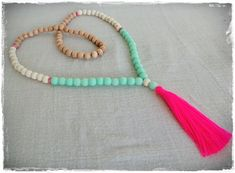 Wooden bead tassel necklace White wood rosewood by Brightnewpenny, $26.00
