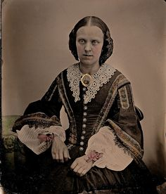 Wonderfully Dressed, 1/9th-Plate Hand-Tinted Ambrotype, Circa 1859