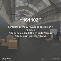 """161102"" WOD - Complete as many rounds as possible in 7 minutes: 135-lb. sumo deadlift high pulls, 10 reps; 135-lb. push presses, 10 reps"