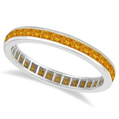 Princess-Cut Citrine Eternity Ring Band 14k White Gold: to stack with my wedding band and engagement ring for LL